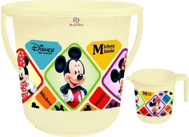 Heart Home Disney Mickey Minnie Print 2 Pieces Unbreakable Virgin Plastic Bathroom Bucket With Mug Set- Cream, (1 Pc 16 LTR Bucket & 1 Pc 500 ML Mug) -HS_35_ 17926 16 L Plastic Bucket