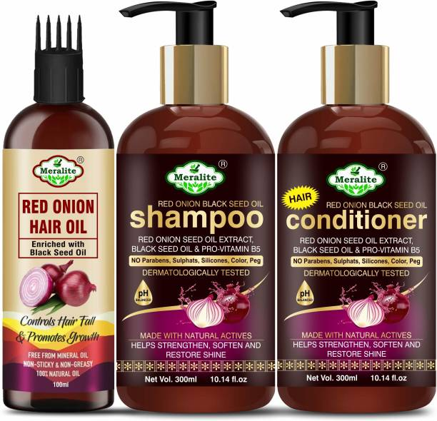 Meralite Red Onion Hair Oil Ultimate Hair Care Kit (Shampoo + Hair Conditioner + Hair Oil)