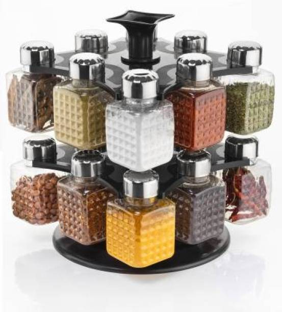 HUMBLE KART 360 Degree Revolving Woman's 1st Choice New Premium Quality Square Shape Transparent Spice Rack, Masala Box, Dray fruit container Fridge Container, Tea Coffee & Sugar Container, Spice Box - 250 ml 16 Jar Spice Container With Steel Cap Black Color 1 Set 1 Piece Spice Set