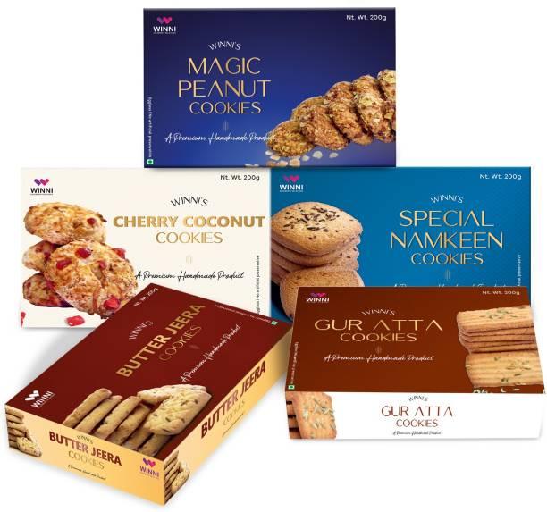 WINNI CELEBRATE RELATIONS Premium Handmade Special Namkeen Cookies, Cherry coconut, Magic Peanut, Butter Jeera, Gur Aata Eggless & No Artificial Preservatives ( 1 kg, Pack of 5 ) Cookies