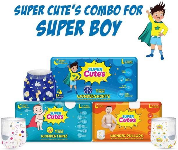 Super Cute's Combo of Wondershorts, Wonderthinz & Wonderpullups for Super Boy | Combo of 3 | - L
