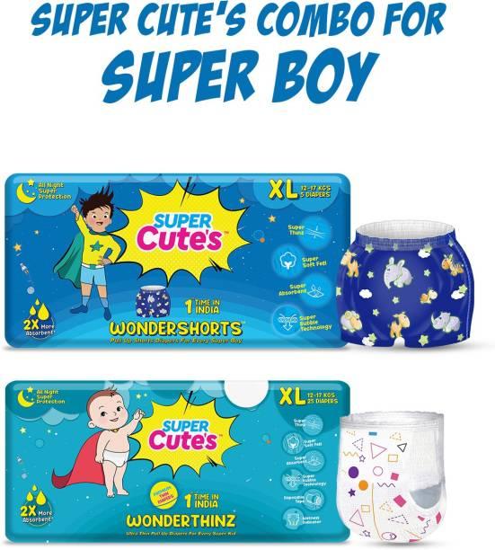 Super Cute's Combo of Wondershorts & Wonderthinz for Super Boy | Combo of 2 | - XL