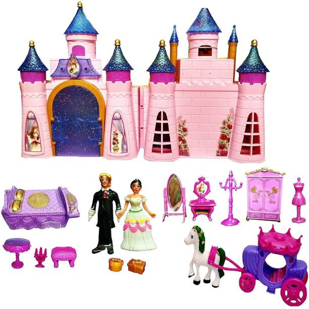 Mantavya Castle Doll House Play Set Toys for Girls Pretend Role Play Beauty Princess Dream Home with Dolls