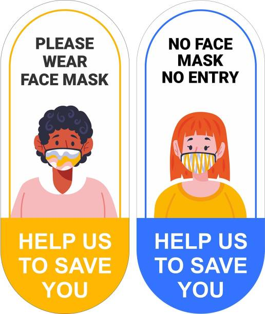 Techfit Please Wear Face Mask, No Face Mask No Entry, Help Us to Save You Emergency Sign