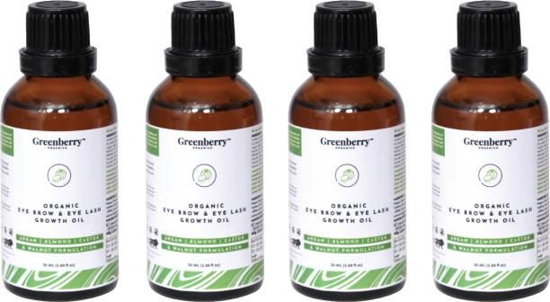 Greenberry Organics Organic Eyebrow & Eye Lash Growth Oil, Aragan, Almond, Castor & Walnut Super Formula, Soothing & Growth, All Skin Types, 50 ML Pack Of 4 200 ml