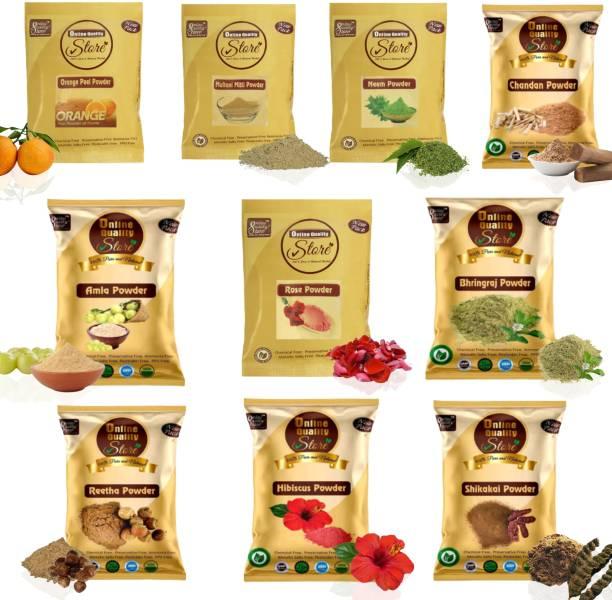 Online Quality Store Multani Mitti,Chandan,Orange Peel,Neem,Rose,Amla,Reetha,Shikakai,Bhringraj,Hibiscus