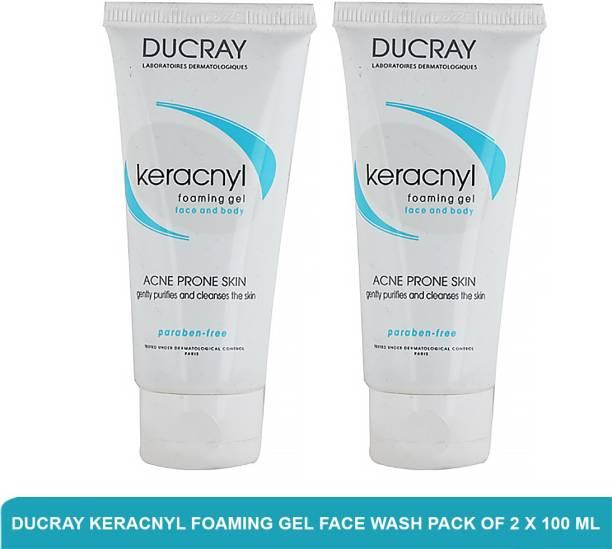 DUCRAY Keracnyl Foaming Gel | Anti Acne  (Pack of 2 X 100ml) Face Wash