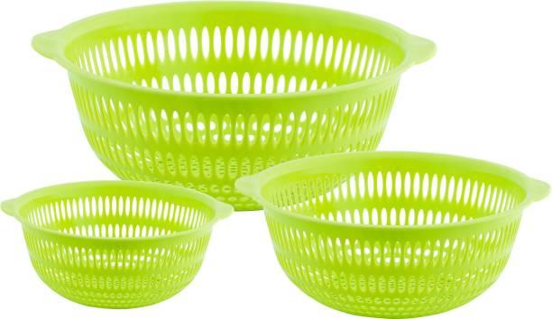 POLYSET Fruty Plastic Multipurpose Round Basket(Small + Medium + Large) Plastic Fruit & Vegetable Basket