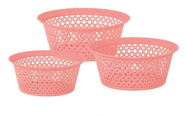 POLYSET Dezire Plastic Multipurpose Round Basket(Small + Medium + Large) Plastic Fruit & Vegetable Basket