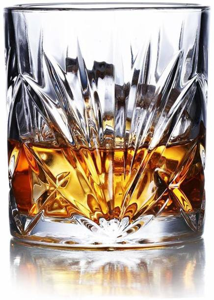 Staify (Pack of 6) Large capacity Stylish Old Fashioned Crystal Whisky Glass Set Glass Set