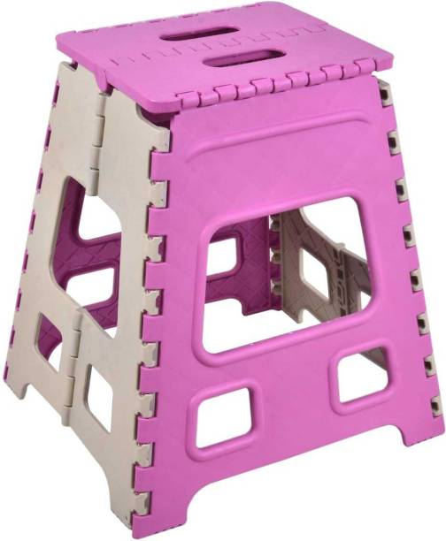 Flipkart Perfect Homes Studio 18 Inch Kicthen Folding Stool   Garden Outdoor Stool   Portable Stool   Pink & Beige Stool