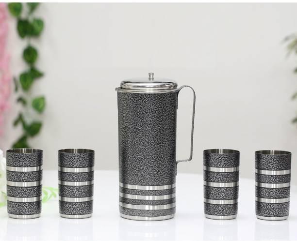 KLASSI KICHEN Steel Water jug with 4pc Glass set Jug Glass Set