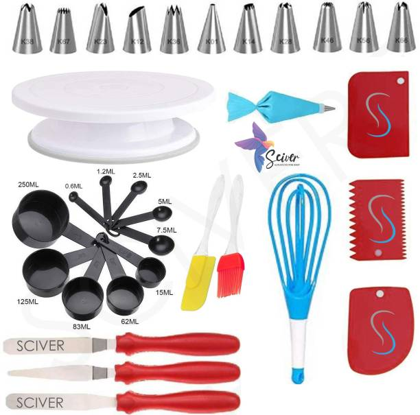SCIVER X-234 All In One Bakeware Cake Combo Tools Cake Baking and making Tools Combo For Cake Decoration At Home, Kitchen And Store Kitchen Tool Set Cake Tools Round Easy Rotate Turntable + 12 Piece Piping Bag Nozzles Cake Decorating Tool Set Frosting Icing Cream Syringe Piping Bag Tips With Steel Nozzles Muffin Dessert Decorators Reusable & Washable Kitchen Tool Set + Multipurpose Heat Resistant Baking Oil Cooking Silicone Spatula and Pastry Brush Set For Cooking + 3 Pcs and Set Scraper Dough Fondant Scraper, Icing Smoother, Baking Supplies Baking CombO + 8-Pc BLACK COLOR Measuring Cups (240 ml, 120 ml, 60 ml, 30 ml, 10 ml, 5 ml, 2.5 ml, 1.2 ml) +Easy to Handle Ergonomic Handle Designed To Be More Comfortable In Your Hand(Set Of 3 Spatula Knife Set) + Magic Flodable Plastic Whisk and Server Set Popular Combo 7 in 1 BAKING TOOLS SET Multicolor Kitchen Tool Set (Multicolor) Multicolor Kitchen Tool Set