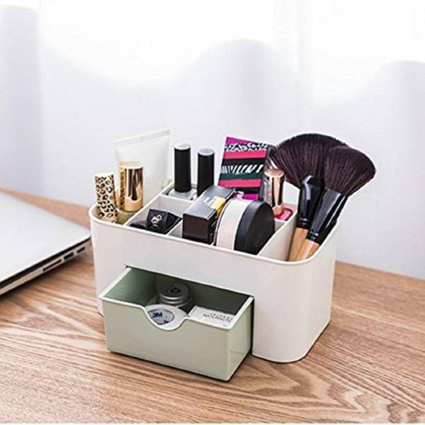Leplion Grid Cosmetic Organizer Makeup Organizer with Drawer Container for Makeup and Brushes Holder Desktop Storage Box