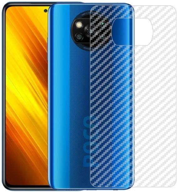 BRIGHTRON Ultra Thin Slim Fit 3M Clear Transparent 3D Carbon Fiber Back Skin Rear Wrap Not Glass Screen Guard/Protector Sticker, Poco X3, Poco X3 Pro Mobile Skin