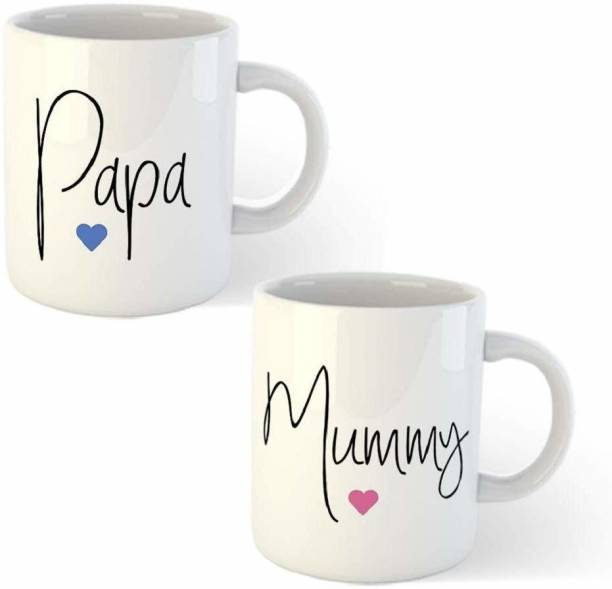 DKraft Anniversary Gift for Mom and Dad Coffees Set - Papa and Mummy Quotes Printed White Ceramic Ceramic Coffee (330 ml, Pack of 2) Ceramic Coffee Mug