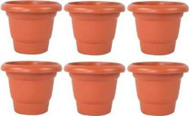 Picvel Beautiful 8 Inch Gardening Flower Pots Plastic Planter Set Indoor And Outdoor (Pack of 6) Plant Container Set