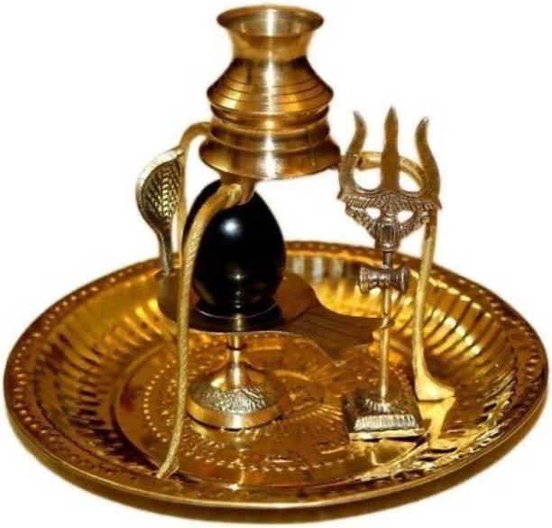 SHIVA Brass Pooja Plate Thali with Shivling Stand and Abhishek Lota Kalash Brass Brass