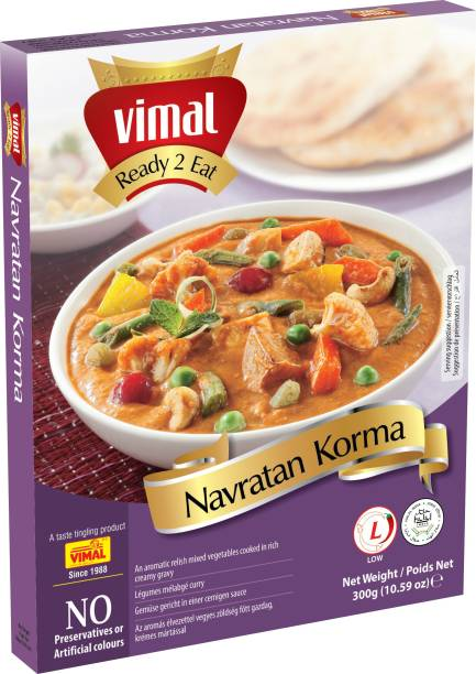 VIMAL Ready to Eat Delicious Navratan Korma Panjabi Vegetarian Meal with No Added Preservative and Colours - 300g 300 g