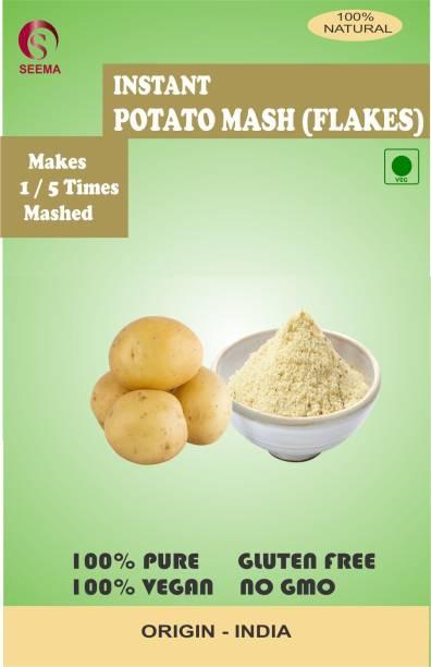 Seema Dried Potato Flakes Instant Mashed Potato / Dehydrated Potato / Aaloo Ka Mash] Instant Aloo Poha Readymix Pack Medium Spiced With Potato Slices Pack of 250 g