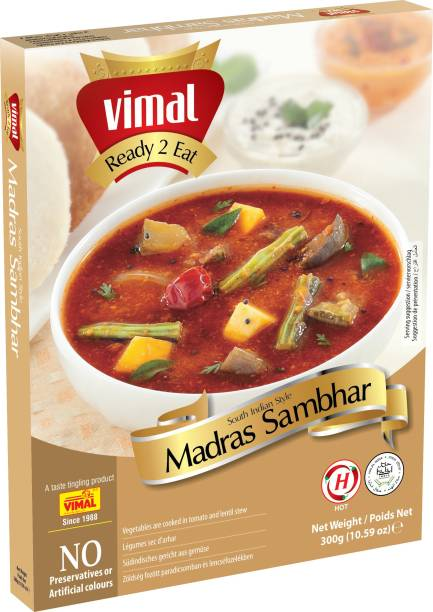 VIMAL Ready to Eat Madras Sambhar Ready 2 Eat Vegetarian Meal with No Added Preservative and Colours - 300g 300 g