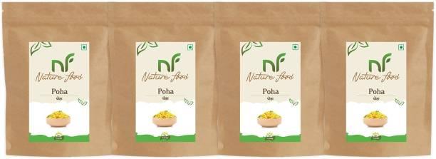 Nature food Best Quality Poha /Flattened Rice - 4KG (1kgx 4) Poha (Medium Grain, Unpolished)