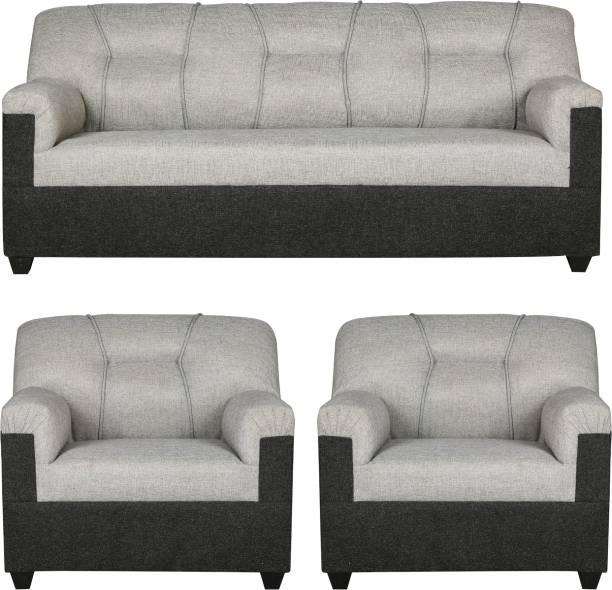 HMG Fabric 3 + 1 + 1 Dark & Light Grey Sofa Set