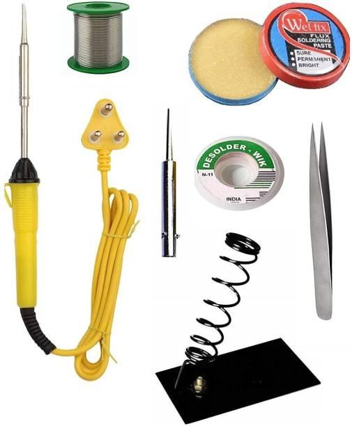 Deals Destination 6 in 1 25W Soldering Iron Kit   5 Meter Soldering Wire   Soldering Iron Stand   Soldering Paste   Wick   Tweezer 25 W Simple