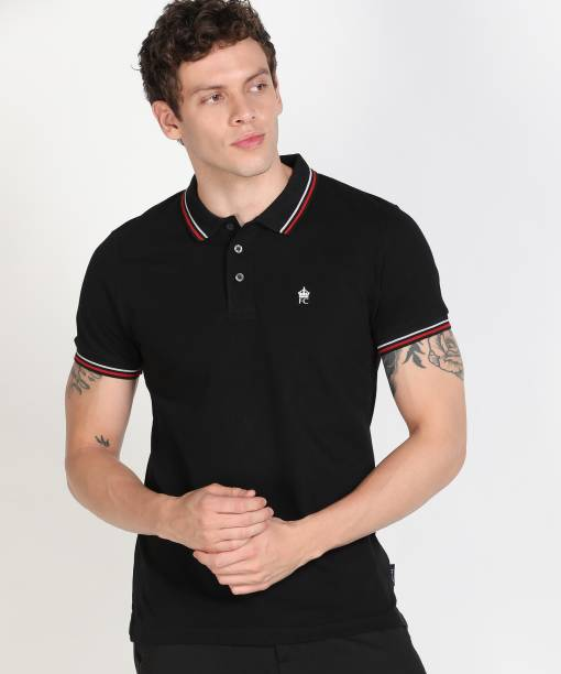 French Connection Solid Men Polo Neck Black T-Shirt