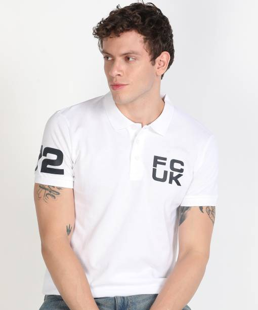 French Connection Solid Men Polo Neck White T-Shirt