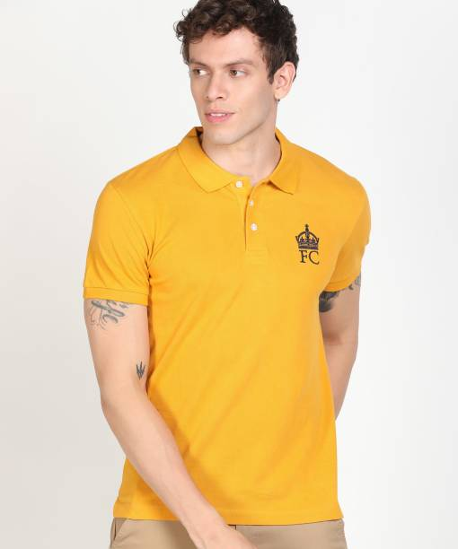 French Connection Solid Men Polo Neck Yellow T-Shirt
