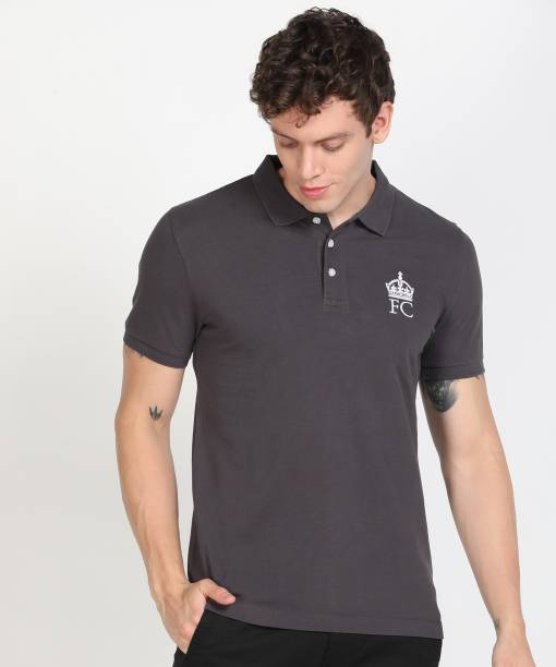 French Connection Solid Men Polo Neck Grey T-Shirt