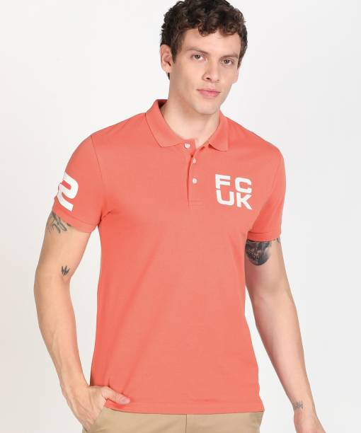 French Connection Solid Men Polo Neck Pink T-Shirt