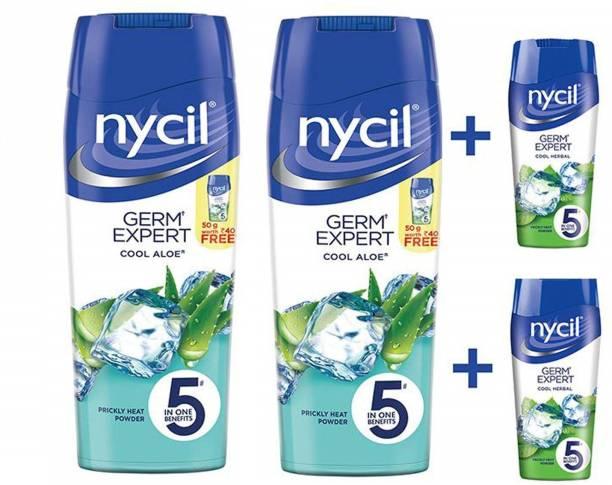 NYCIL Germ Expert Prickly Heat COOL ALOE Powder - 2 x 150 g Packs