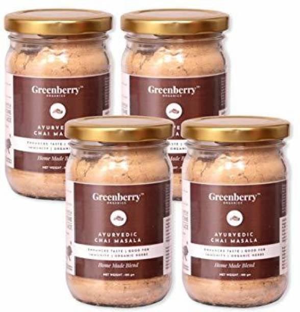 Greenberry Organics Ayurvedic Chai Masala Mix, Enhances Taste, Good for Immunity, Organic Herbs, Home Made, 100 grams Pack 4 Ginger Masala Tea Glass Bottle