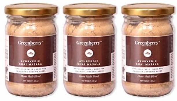 Greenberry Organics Ayurvedic Chai Masala Mix, Enhances Taste, Good for Immunity, Organic Herbs, Home Made, 100 grams Pack 3 Ginger Masala Tea Glass Bottle