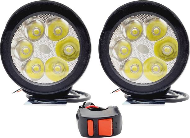 AutoPowerz 6 Led Round Cap Pair With Normal Switch Fog Lamp Motorbike, Car, Van LED (12 V, 18 W)