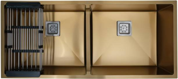 "CROCODILE 45"" x 20"" x 10"" GOLD GRADE 304 DOUBLE BOWL HANDMADE SINK KCW0707 45"" X 20"" X 10"" GOLD DOUBLE BOWL Under Counter Basin"