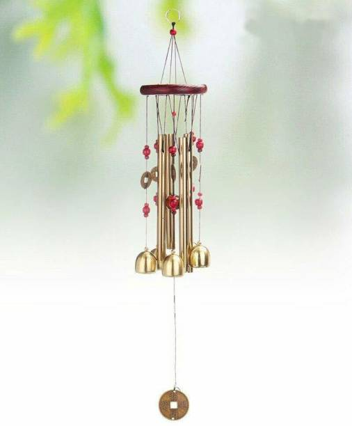 shanol A Shanol Vastu Wind Chime Metal Hanging Bells Tubes Home Decor for Positive Energy Windchime Living Room Good Day Luck Balcony Garden Indoor Outdoor with Good Sound Kitchen Pipe Decoration Positivity and home decoration Steel, Wood Windchime