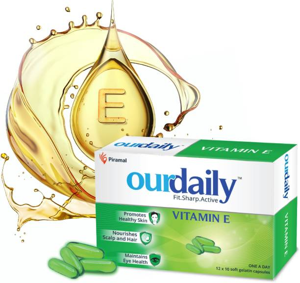 Ourdaily Vitamin E 400mg by Piramal for beautiful Skin, Healthy Hair and Eyes Capsules