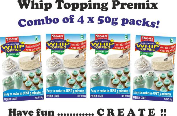 SOOPER WHIP TOPPING PREMIX 4 x 50g PACKS Topping