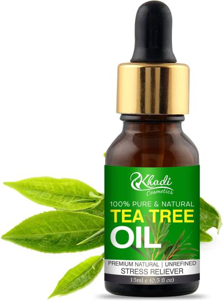 Khadi Cosmetics Tea Tree Essential Oil, Reduces Acne & Dark Spots, Treats Dandruff, Face, Hair Care, Pure & Undiluted Therapeutic Grade Oil, Excellent for Aromatherapy,100% Organic, Paraben & Sulphate Free