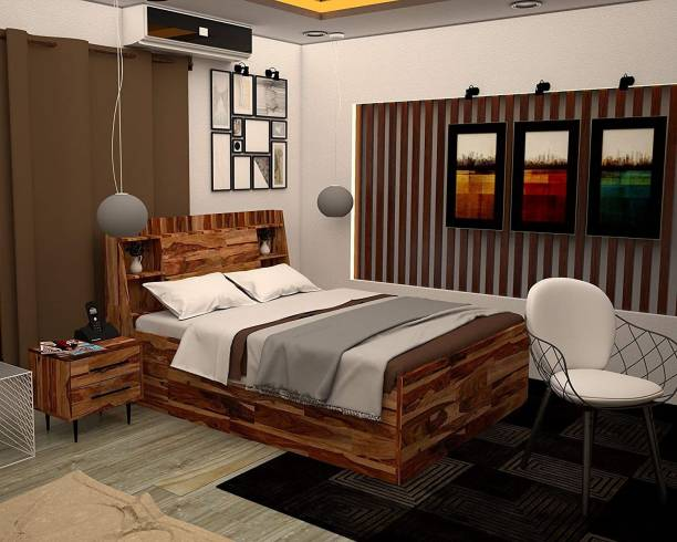 INMARWAR PureWood Sheesham King Size Box Storage Bed For Bedroom | Wooden Bed | Solid Wood King Bed