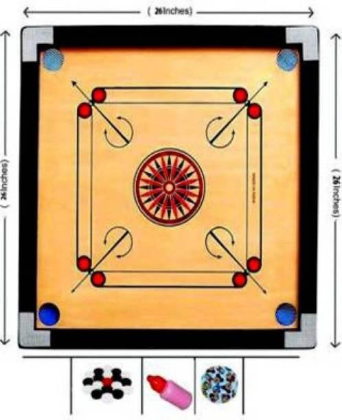 jaysh enterprises 26 Inch Carrom Board with Plastic Coins Striker Powder (Medium Size) 70 CM Carrom Board (Brown) Carrom Board Board Game