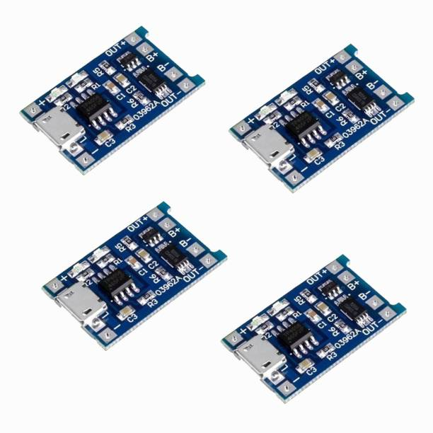 Republic TP4056 Micro USB 5V 1A 18650 Lithium Battery Charger Module Charging Board With Protection (Pack of 4) Micro Controller Board Electronic Hobby Kit