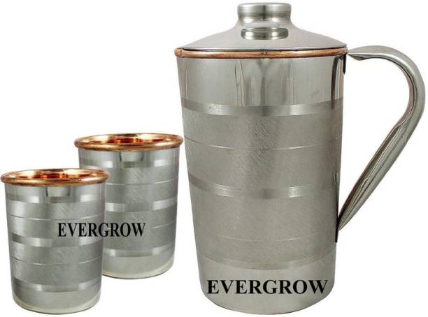EVERGROW Pure Copper Steel JUG with 2 Copper Steel Glasses Jug Glass Set