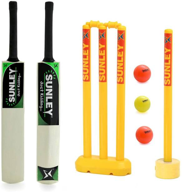SUNLEY Just Kidding Popular Willow Cricket Bat Size 3 with 2 Wicket Set, 3 Wind Ball Cricket Kit