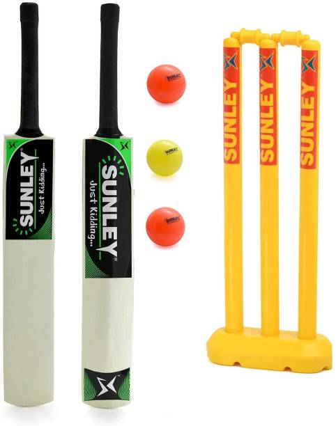 SUNLEY Just Kidding Popular Willow Cricket Bat Size 3 with Wicket Set, 3 Wind Ball Cricket Kit