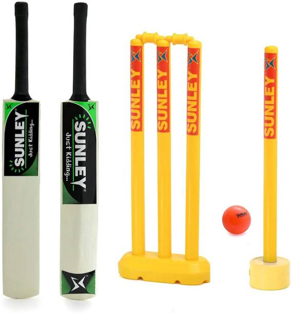 SUNLEY Just Kidding Popular Willow Cricket Bat Size 3 with 2 Wicket Set, 1 Wind Ball Cricket Kit