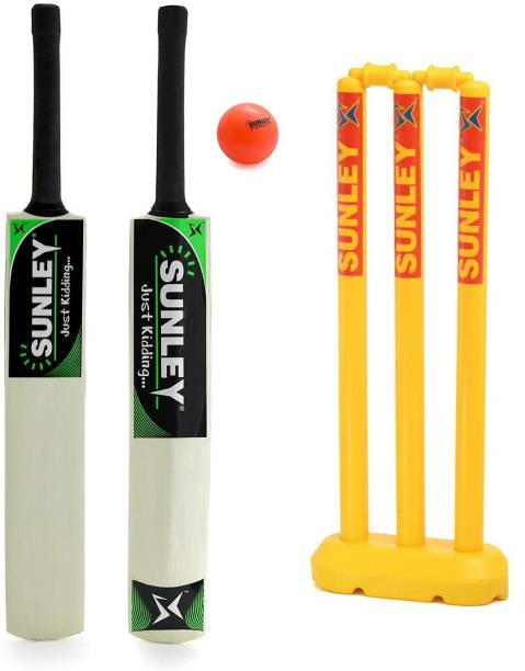 SUNLEY Just Kidding Popular Willow Cricket Bat Size 3 with Wicket Set, 1 Wind Ball Cricket Kit